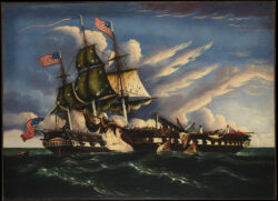 Image of two warships fighting in the War of 1812. The USS Constitution and the English ship the Guerriere