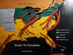 Map showing the major Underground Railroad routes leading to Canada and Mexico