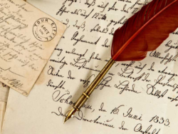 handwritten letters with quill